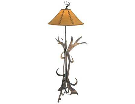 Meyda Tiffany Faux Leather Antler Brown Floor Lamp