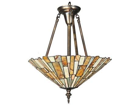 Meyda Tiffany Jadestone Delta Three-Light Semi-Flush Mount Light