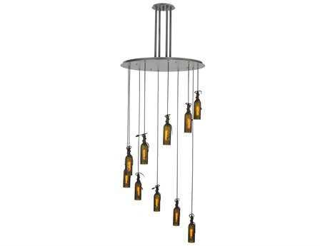 Meyda Tiffany Tuscan Vineyard Etched Ten-Light Bottle Shower Semi-Flush Mount Light