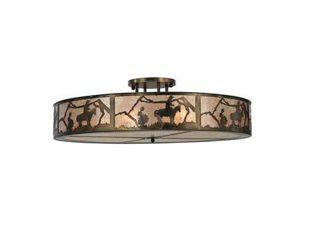 Meyda Tiffany Cowboy Six-Light Semi-Flush Mount Light