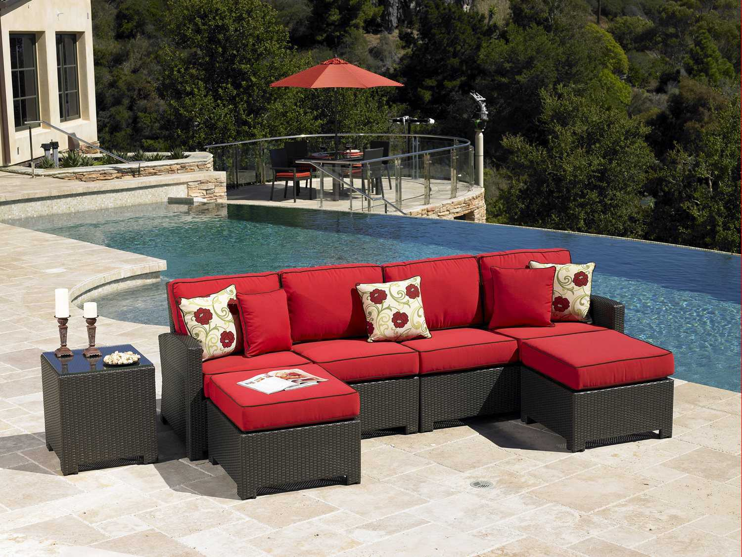 Forever patio barbados wicker sectional set ncbarlngeset4 for Agio international barbados chaise lounge