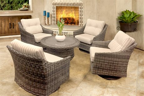 Forever Patio Quick Ship Aberdeen Rye Wicker Five-Piece Chair Set Wicker