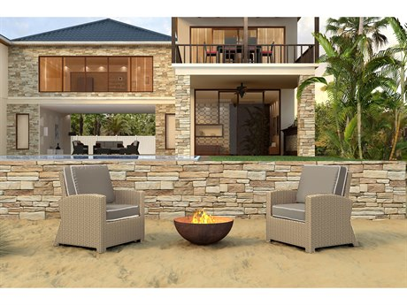 Forever Patio Barbados Biscuit Wicker Two-Piece Lounge Set