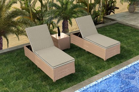 Forever Patio Quick Biscuit Barbados Wicker Three-Piece Lounge Set