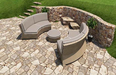 Forever Patio Quick Ship Barbados Biscuit Wicker Three-Piece Sectional Set