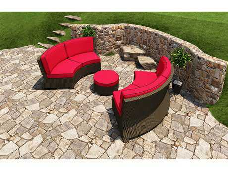 Forever Patio Barbados Ebony Wicker Three-Piece Sectional Set