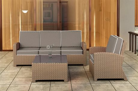 Forever Patio Quick Ship Barbados Biscuit Wicker Three-Piece Lounge Set