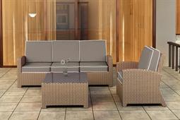 Quick Ship Barbados Biscuit Wicker Three-Piece Lounge Set