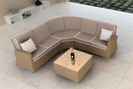 Forever Patio Quick Ship Barbados Biscuit Wicker Four-Piece Sectional Set