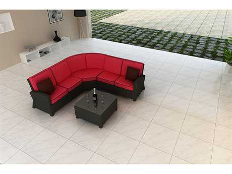 Forever Patio Barbados Ebony Wicker Four-Piece Sectional Set