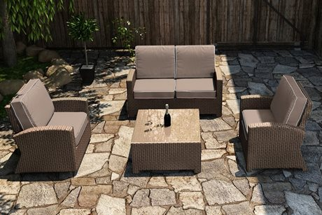 Forever Patio Quick Ship Barbados Biscuit Wicker Four-Piece Lounge Set