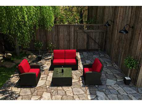 Forever Patio Quick Ship Barbados Ebony Wicker Four-Piece Lounge Set