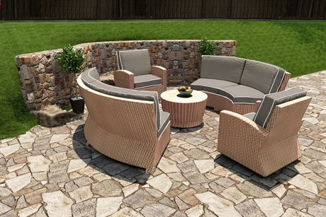 Forever Patio Quick Ship Barbados Biscuit Wicker Five-Piece Sectional Set