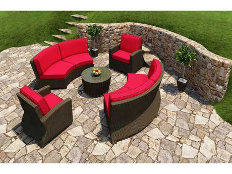 Forever Patio Barbados Ebony Wicker Five-Piece Sectional Set