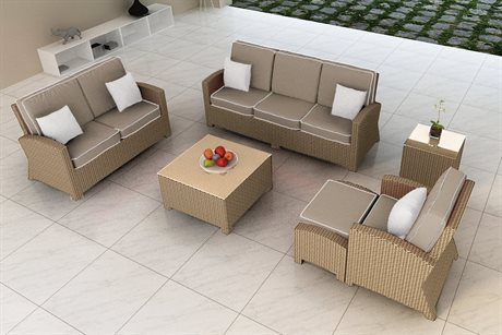 Forever Patio Barbados Biscuit Wicker Six-Piece Barbados Lounge Set
