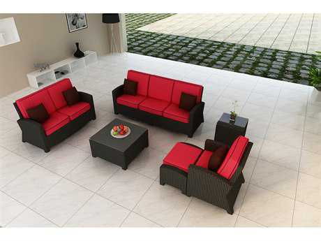 Forever Patio Quick Ship Barbados Ebony Wicker Six-Piece Lounge Set