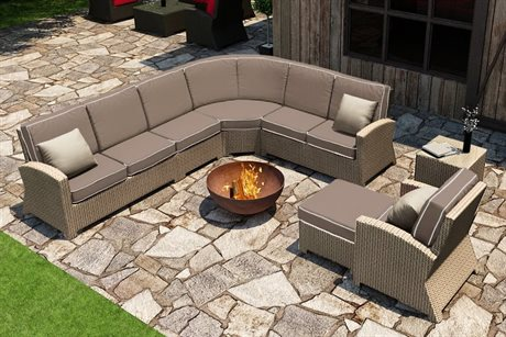Forever Patio Quick Ship Barbados Biscuit Wicker Seven-Piece Sectional Set