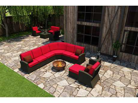 Forever Patio Quick Ship Barbados Ebony Wicker Seven-Piece Sectional Set