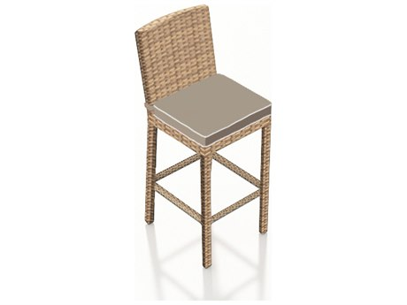 Forever Patio Quick Ship Barbados Biscuit Wicker Bar Stool PatioLiving