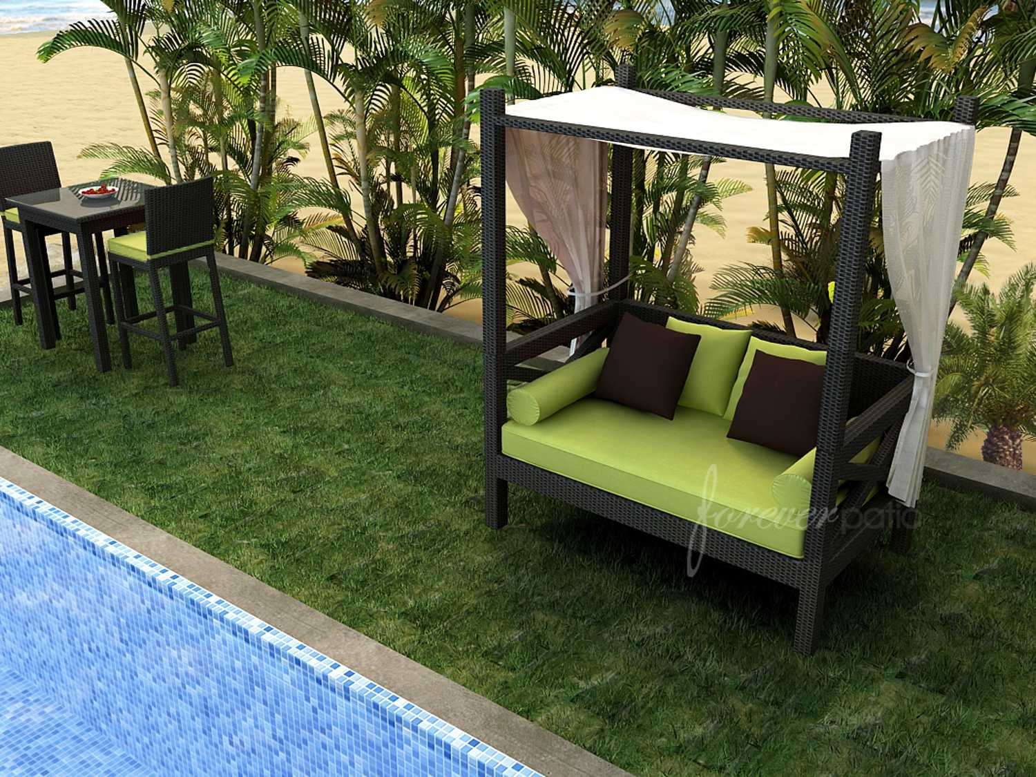 Forever patio barbados wicker canopy day lounger fp bar for Outdoor lounge bed with canopy