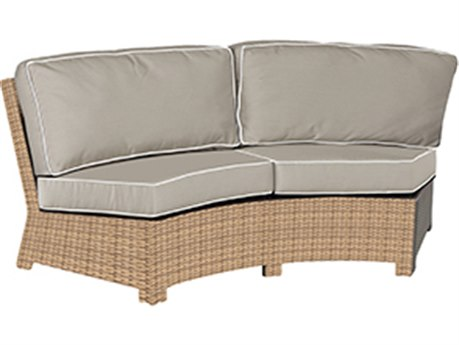Forever Patio Quick Ship Barbados Biscuit Wicker Curved Sofa