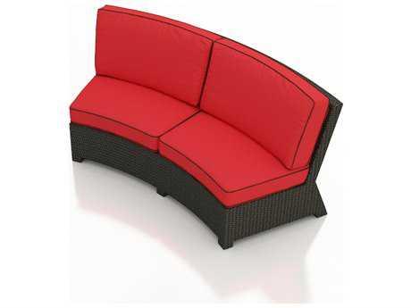 Forever Patio Barbados Ebony Wicker Curved Sofa
