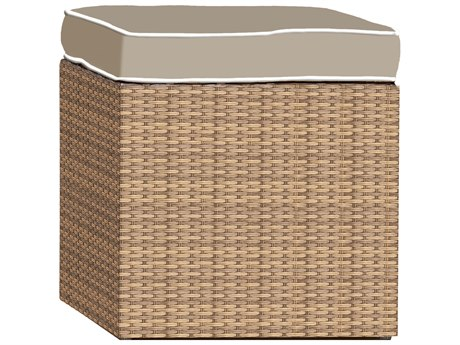 Forever Patio Barbados Biscuit Wicker Cube Ottoman
