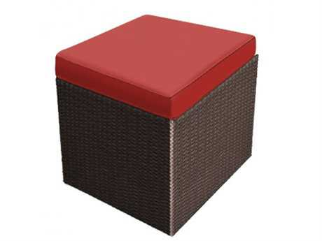 Forever Patio Barbados Ebony Wicker Cube Ottoman