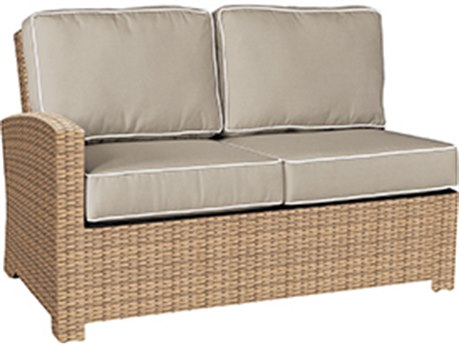 Forever Patio Barbados Biscuit Wicker Sectional Left Arm Facing Loveseat