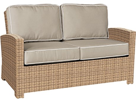 Forever Patio Quick Ship Barbados Biscuit Wicker Loveseat PatioLiving