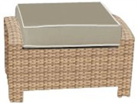 Forever Patio Quick Ship Barbados Biscuit Wicker Ottoman