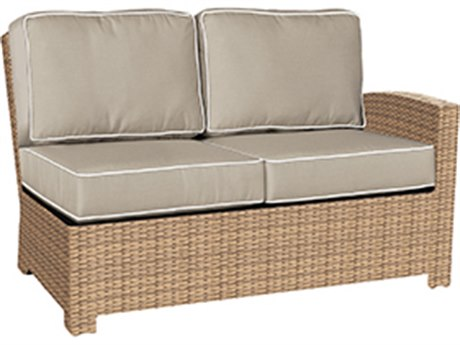 Forever Patio Quick Ship Barbados Biscuit Wicker Sectional Left Arm Facing Loveseat