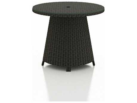 Forever Patio Barbados Wicker 32 Round High Coffee Table with Umbrella Hole