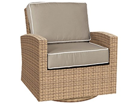 Forever Patio Quick Ship Barbados Biscuit Wicker Swivel Glider PatioLiving