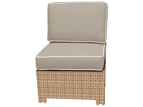 Forever Patio Quick Ship Barbados Biscuit Wicker Sectional Middle Chair