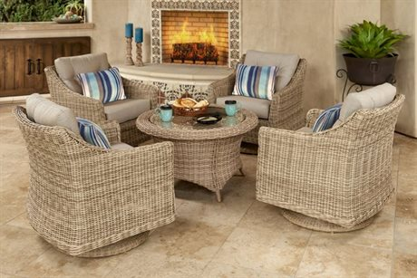 Forever Patio Quick Ship Carlisle Alabaster Wicker Five-Piece Lounge Set