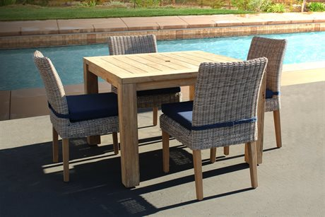 Forever Patio Carlisle Alabaster Teak Wicker Five-Piece Dining Chair Set