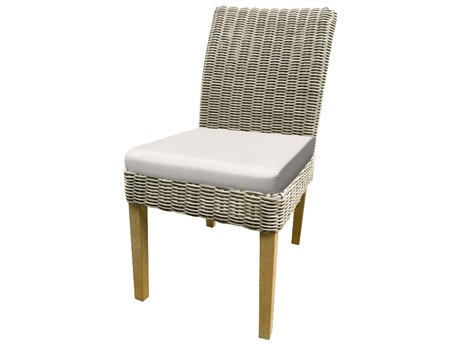 Forever Patio Quick Ship Carlisle Alabaster Teak Wicker Dining Chair PatioLiving