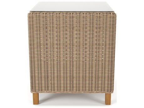 Forever Patio Carlisle Wicker Alabaster 22''Wide Square Glass Top End Table PatioLiving