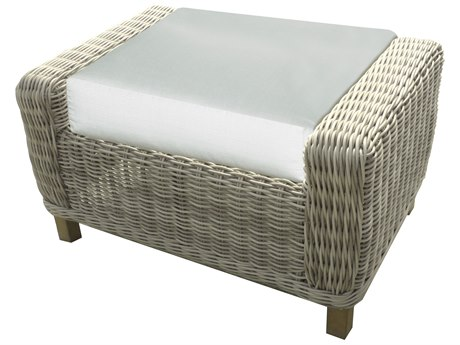 Forever Patio Quick Ship Carlisle Alabaster Teak Wicker Ottoman