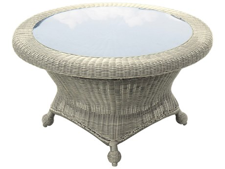 Forever Patio Carlisle Alabaster Teak Wicker 36 Round Rotating Chat Table with Glass Top