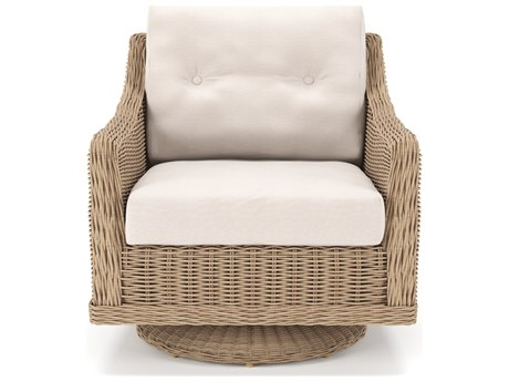 Forever Patio Carlisle Alabaster Teak Wicker Swivel Rocker