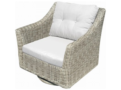 Forever Patio Quick Ship Carlisle Alabaster Teak Wicker Swivel Rocker PatioLiving