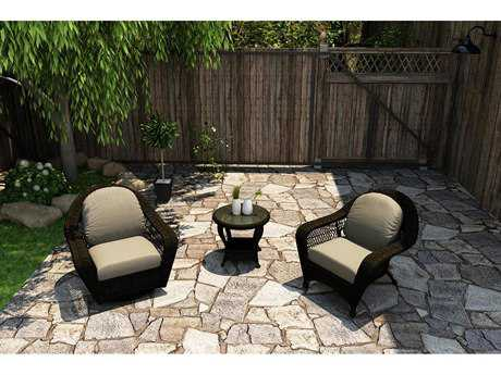 Forever Patio Quick Ship Catalina Sable Round Wicker Three-Piece Lounge Set