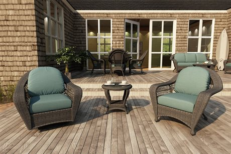 Forever Patio Quick Ship Catalina Heather Round Wicker Three-Piece Lounge Set