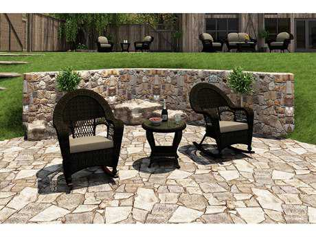 Forever Patio Quick Ship Catalina Sable Round Wicker Three-Piece Rocking Lounge Set