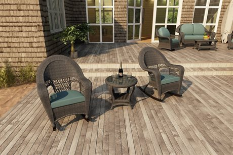Forever Patio Quick Ship Catalina Heather Round Wicker Three-Piece Rocking Lounge Set