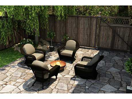 Forever Patio Quick Ship Catalina Sable Round Wicker Four-Piece Lounge Set