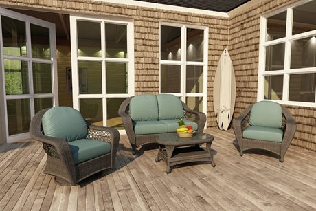 Forever Patio Quick Ship Catalina Heather Round Wicker Four-Piece Lounge Set