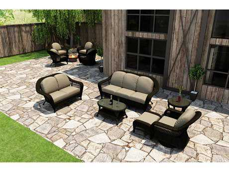 Forever Patio Quick Ship Catalina Sable Round Wicker Six-Piece Lounge Set